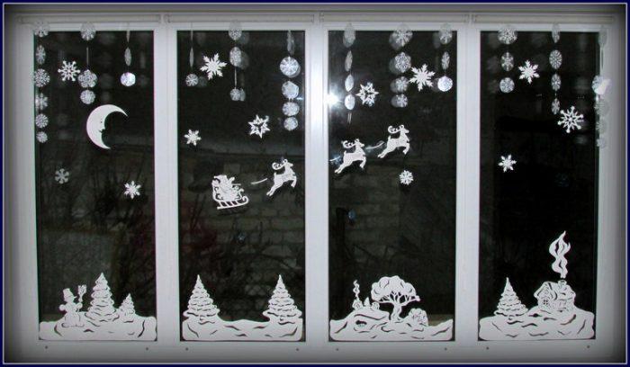 Новогодние трафареты на окна из бумаги, вытыканки для вырезания