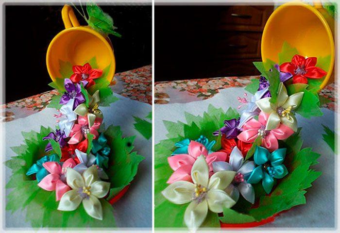 Парящая чашка с цветами канзаши своими руками, мастер-класс
