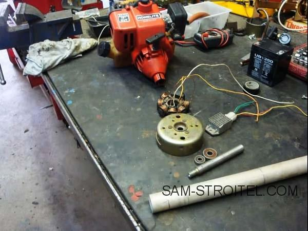 Самодельный бензогенератор с двигателем от триммера