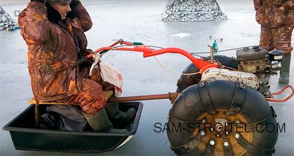 Самодельный снегоход из мотоблока для зимней рыбалки